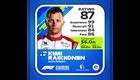 Kimi Räikkönen Kokemus: 99 Kisataidot: 91 Tietoisuus: 84 Kisanopeus: 86 Kokonaispisteet: 87