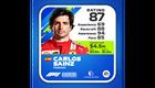 Carlos Sainz Kokemus: 69 Kisataidot: 88 Tietoisuus: 94 Kisanopeus: 85 Kokonaispisteet: 87
