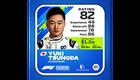 Yuki Tsunoda Kokemus: 46 Kisataidot: 88 Tietoisuus: 78 Kisanopeus: 86 Kokonaispisteet: 82