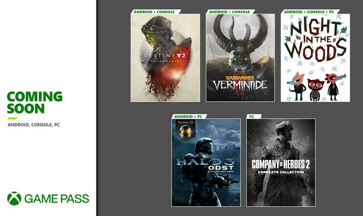 Xbox Game Pass, Destiny 2, Microsoft, Night in the Woods, Vermintide 2, Company of Heroes 2