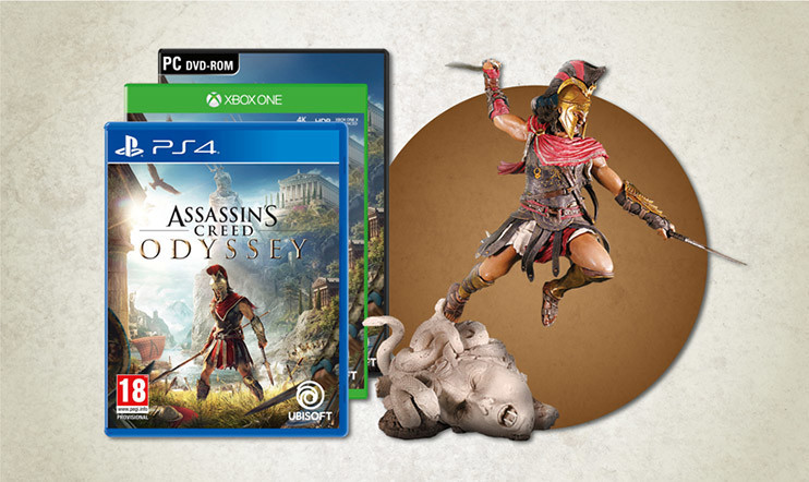 Helmikuun kilpailu: Voita Assassin's Creed Odysseyn upea The Fallen Gorgon -keräilypatsas ja itse peli!